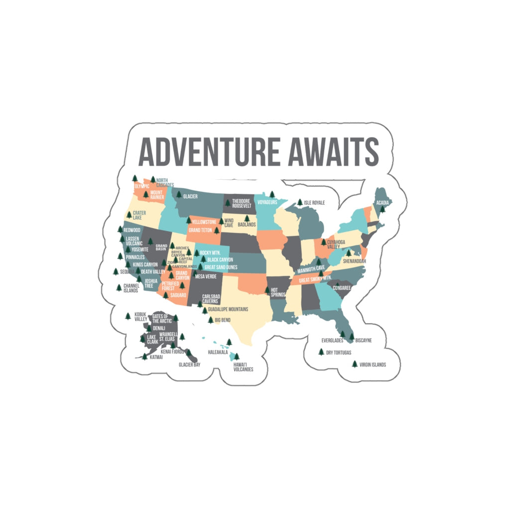 National Park Map Sticker - Lists All National Parks - National Park Sticker - National Park Gift - Roam Free