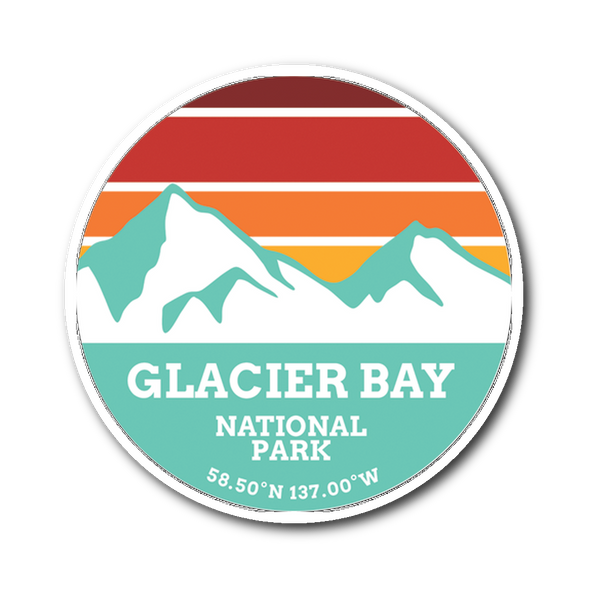 Glacier Bay National Park Retro Mountain Sticker - Roam Free