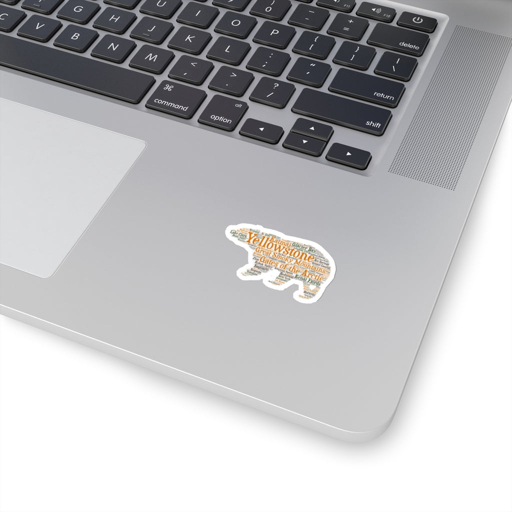 National Park Bear Sticker - Lists all 59 National Parks - National Park Stickers - National Park Gift - Roam Free