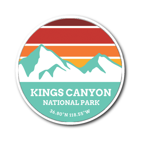 Kings Canyon National Park Retro Mountain Sticker - Roam Free
