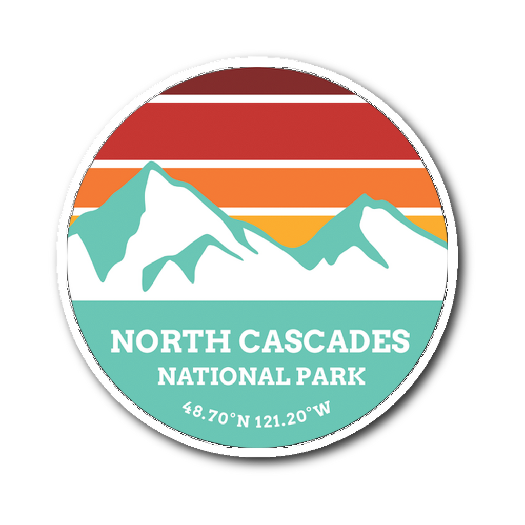 North Cascades National Park Retro Mountain Sticker - Roam Free