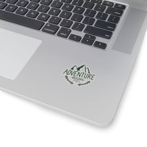 Adventure Begins Mountain Sticker - Roam Free