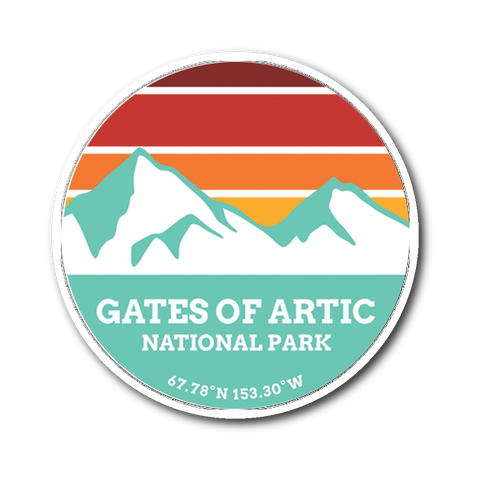 Gates Of The Artic National Park Retro Mountain Sticker - Roam Free