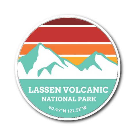 Lessen Volcanic National Park Retro Mountain Sticker - Roam Free
