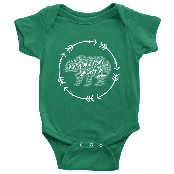 National Parks Bear Onesie Listing all 59 National Parks - Roam Free