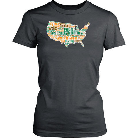 National Parks Womens T Shirt Lists all 59 National Parks US National Parks T Shirt Womens National Parks T Shirt Size S - 4XL - Roam Free