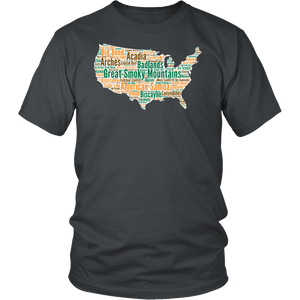 National Parks Mens T Shirt  Lists all 59 National Parks US National Parks T Shirt Mens National Parks T Shirt Size S - 4XL - Roam Free