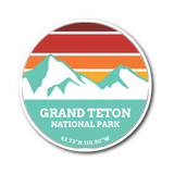 Grand Teton National Park Retro Mountain Sticker - Roam Free