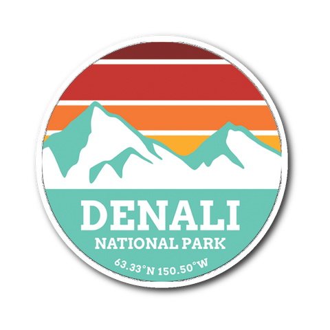 Denali National Park Retro Mountain Sticker - Roam Free