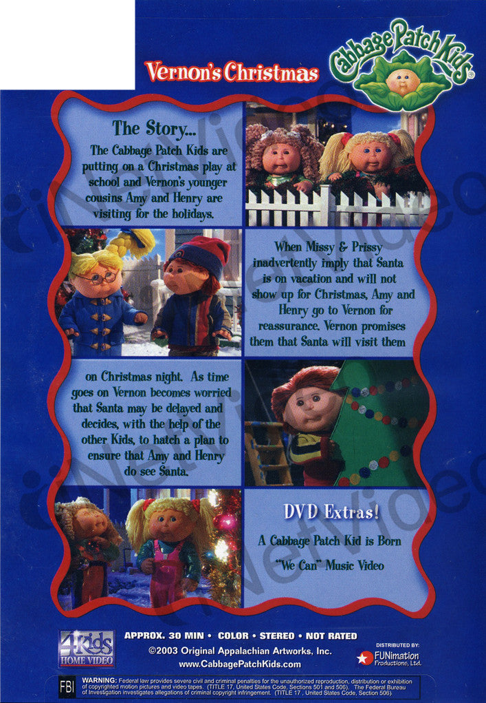 Opening to cabbage patch kids: vernon's christmas 2004 dvd.