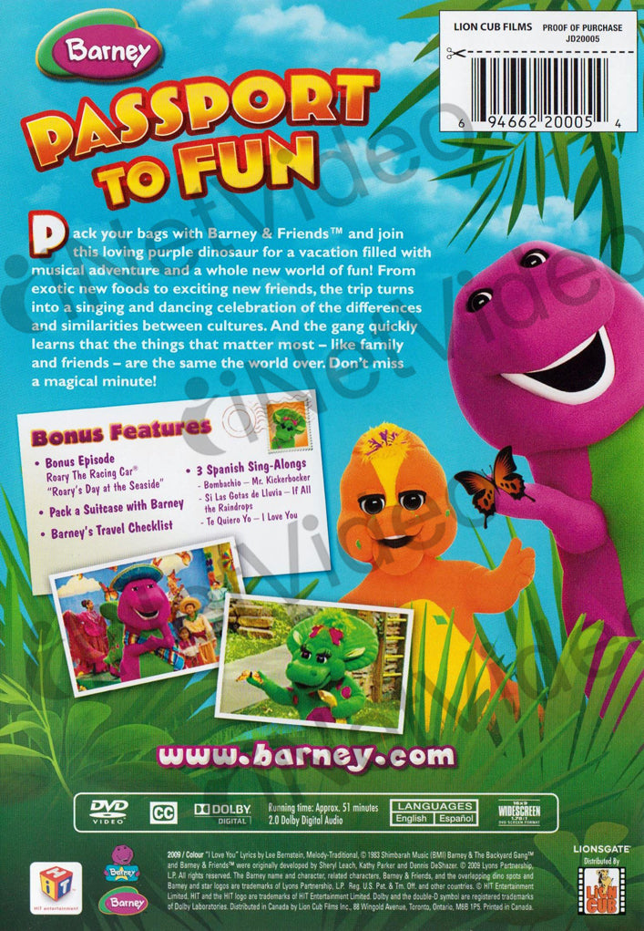 Barney - Let's Go on Vacation on DVD Movie