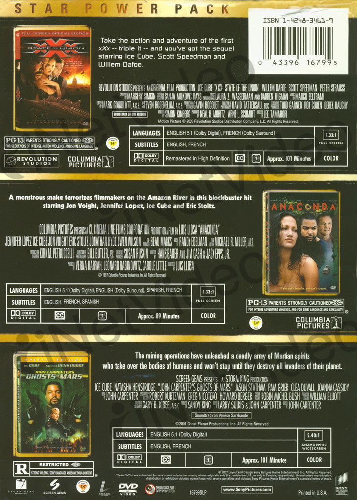 ... Xxx State of the Union / Anaconda / Ghosts of Mars (Boxset) DVD Movie