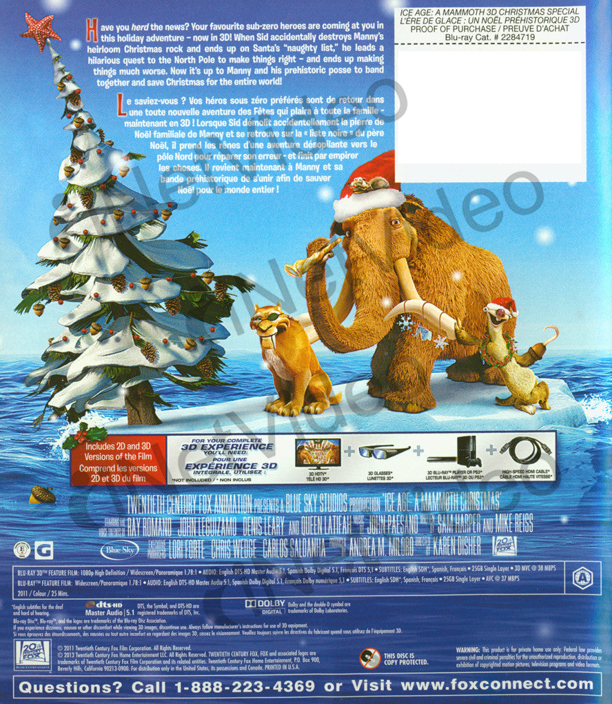 Ice Age A Mammoth Christmas.Ice Age A Mammoth Christmas Special Bilingual Blu Ray