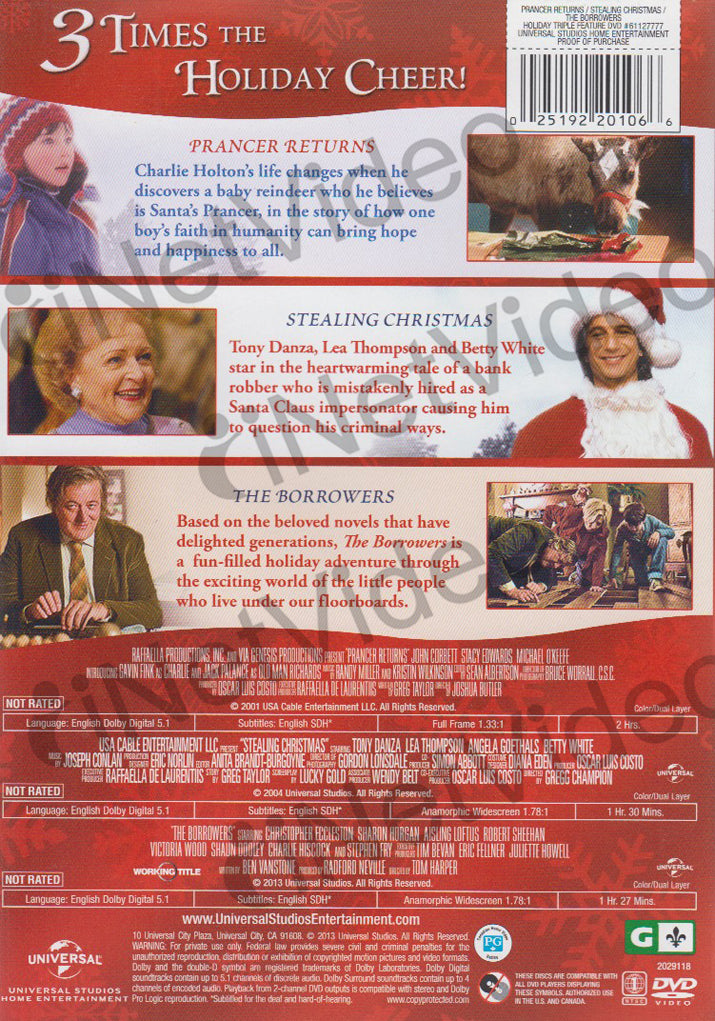 prancer returns stealing christmas the borrowers triple feature dvd movie - Stealing Christmas