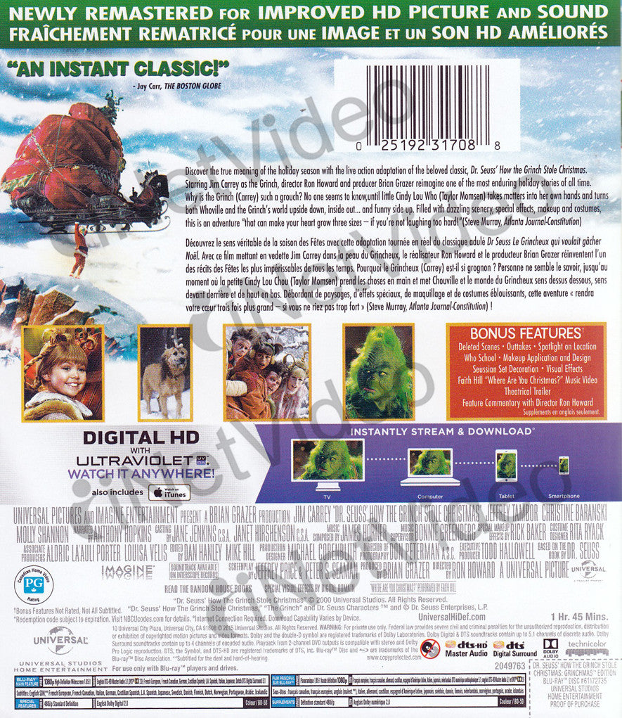 How The Grinch Stole Christmas Blu Ray.Dr Seuss How The Grinch Stole Christmas Blu Ray