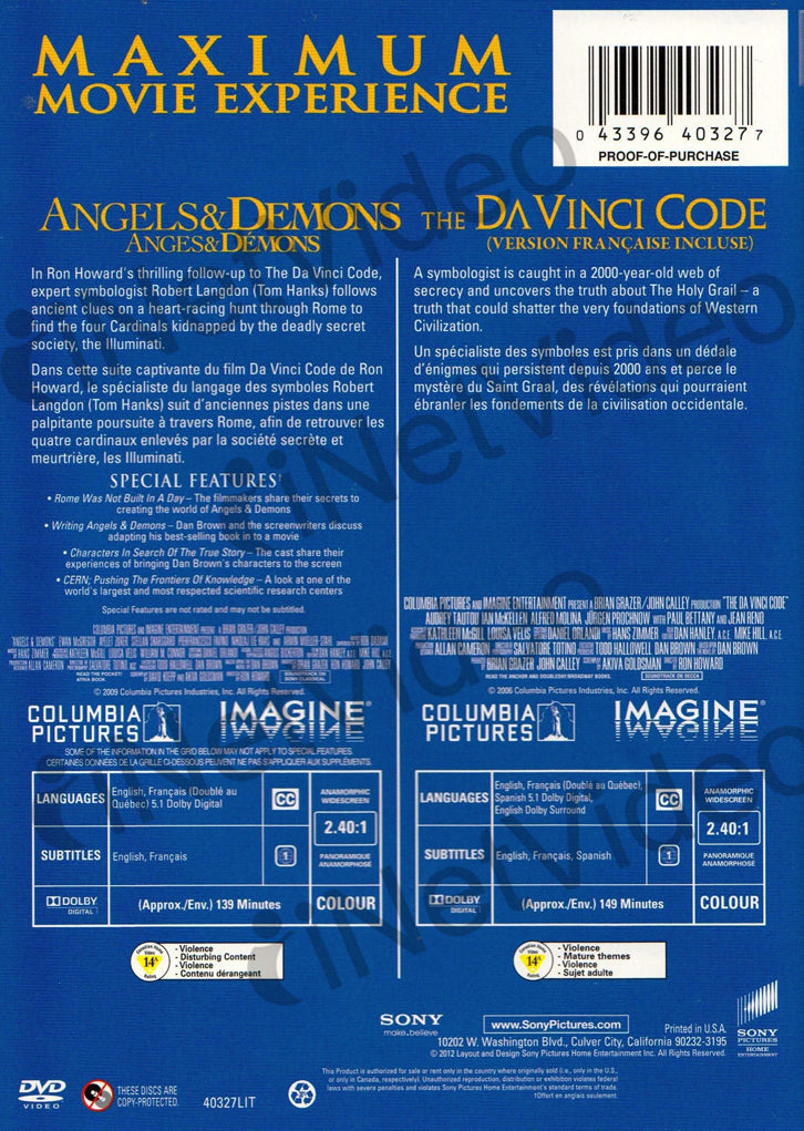 Angels And Demons The Davinci Code Double Feature 2 DVD Set
