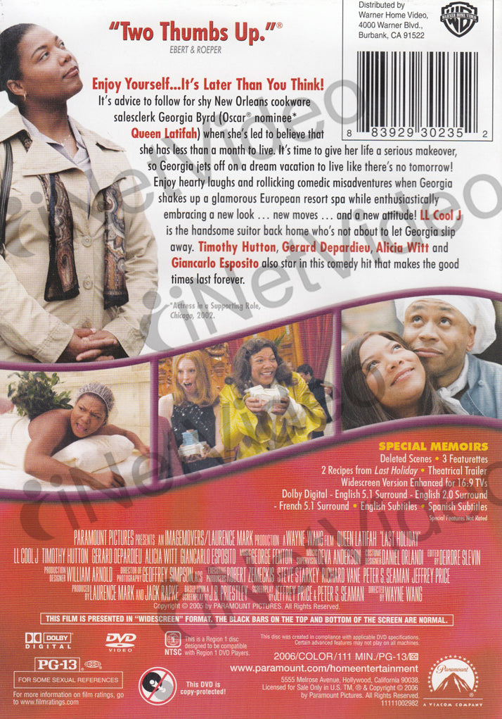 Last Holiday Widescreen All White Cover On Dvd Movie
