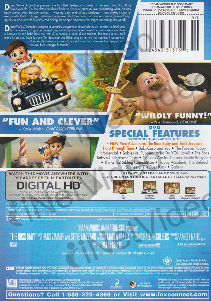 The Boss Baby Bilingual On Dvd Movie