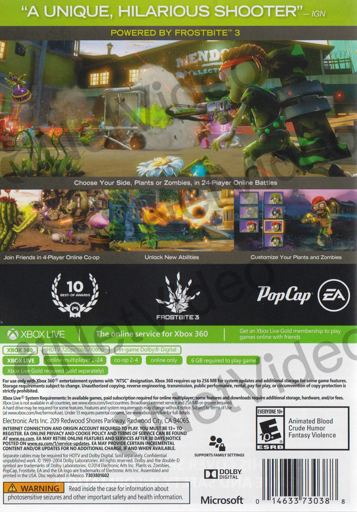 ... Plants Vs Zombies Garden Warfare (Online Play Required) (XBOX360)  XBOX360 Game