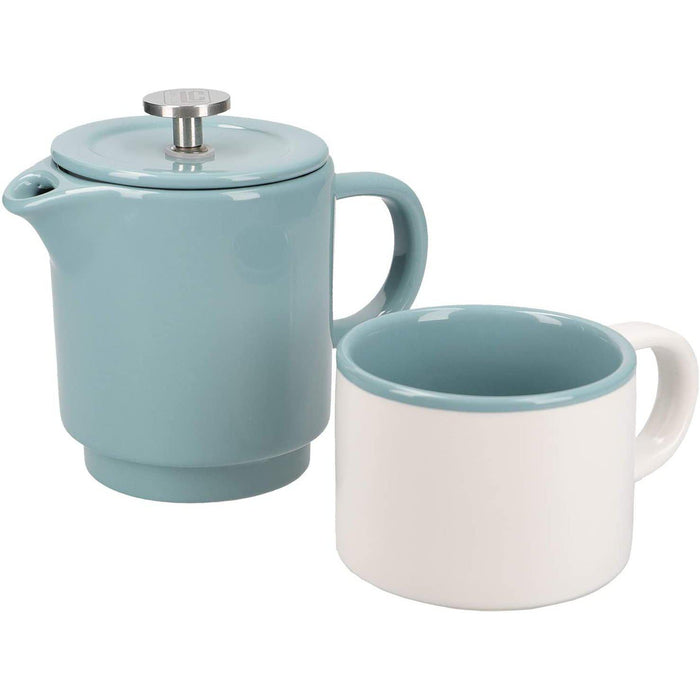 La Cafetière Barcelona Small Cafetiere and Coffee Mug Set, Ceramic, Retro Blue, 2 Pieces-Cafetiere-KitchenCraft-northXsouth