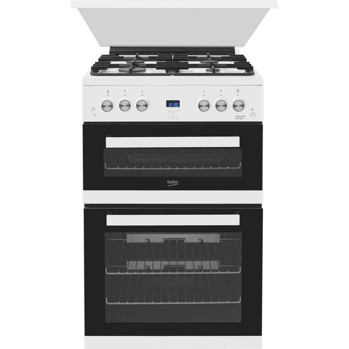 Beko EDG6L33W 60Cm Double Oven Gas Cooker With Glass Lid - White-Gas freestanding cooker-Beko-northXsouth