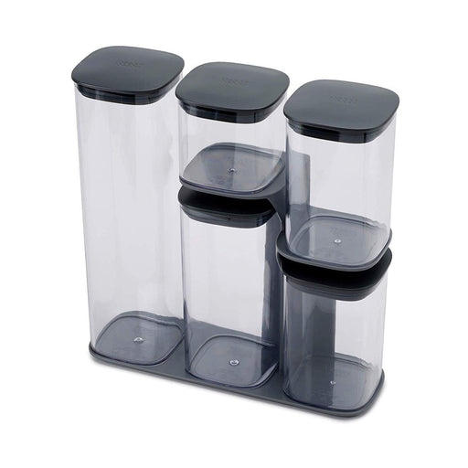 Joseph Joseph Podium 5-Piece Storage Jar Set with Stand - Grey-Storage-Joseph Joseph-northXsouth