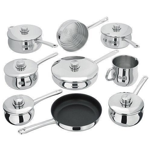 Stellar 1000 9 Piece Stainless Steel Deep Sauce Pan Set - Mirror Polished 18/10-Pan Sets-Stellar-northXsouth