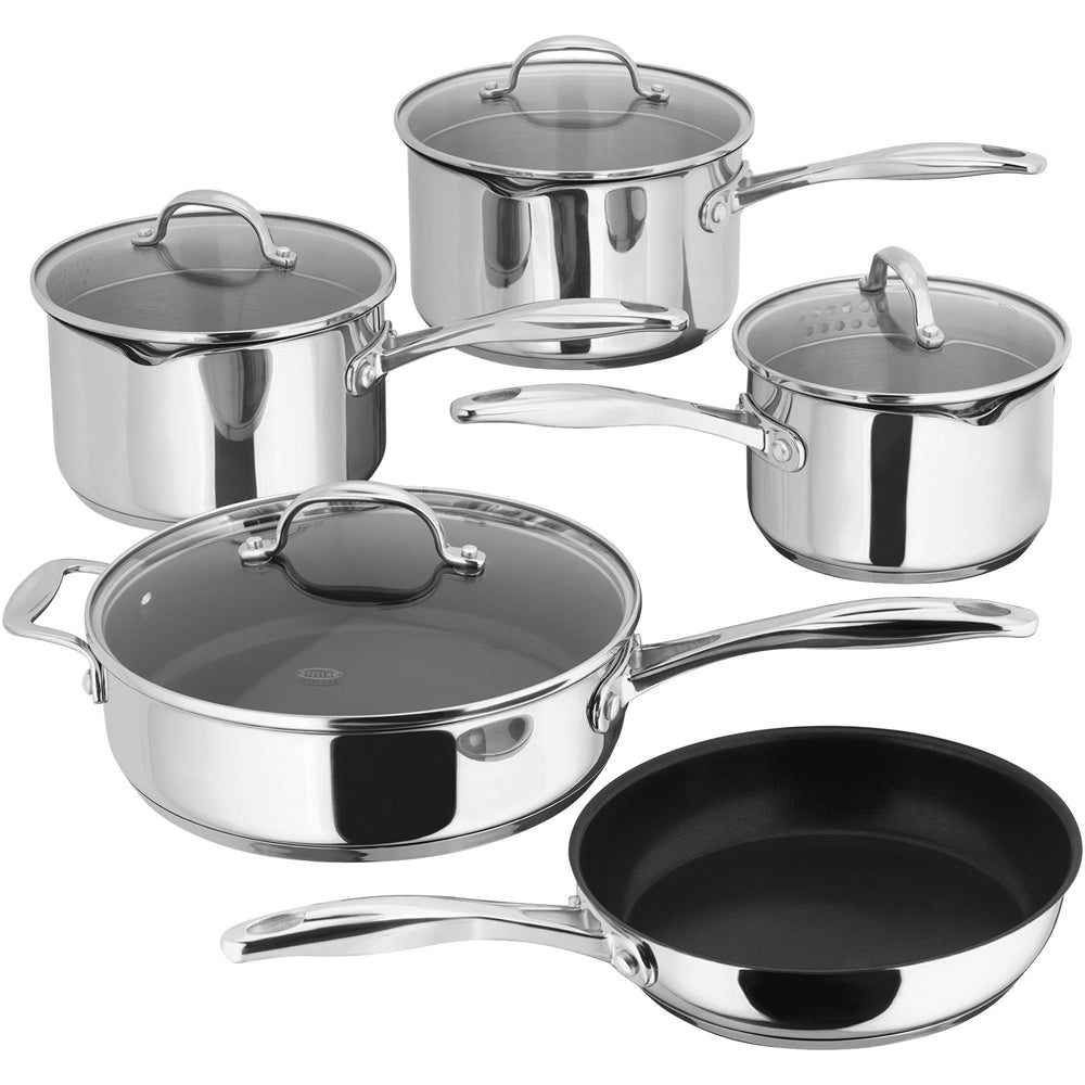 Stellar 7000 S7C4D 5 Piece Pan Set with Draining Lids, Induction Ready-Pan Sets-Stellar-northXsouth