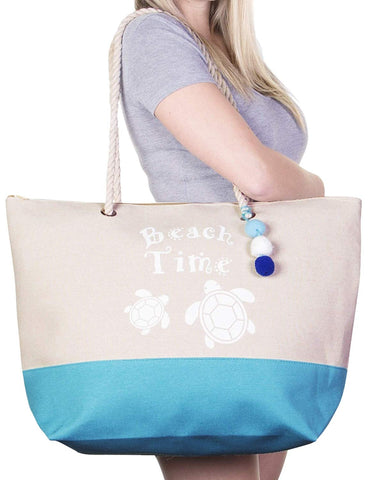 Tote Beach Bag by Pier 17 For Travel And Beach With Zipper And Pockets