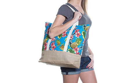 "Beach Bag by Pier 17 - Tote Bag for The Beach, Roomy 20""x18""x6"", Zipper Closure (Pineaple 2)"