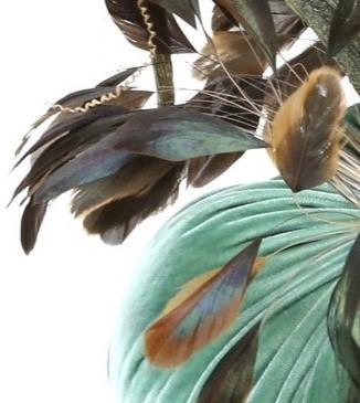 "4"" ~ Bronze Stripped Feather Plume ~ Velvet Pumpkins - PoppyandPeaches.com - Hot Skwash"