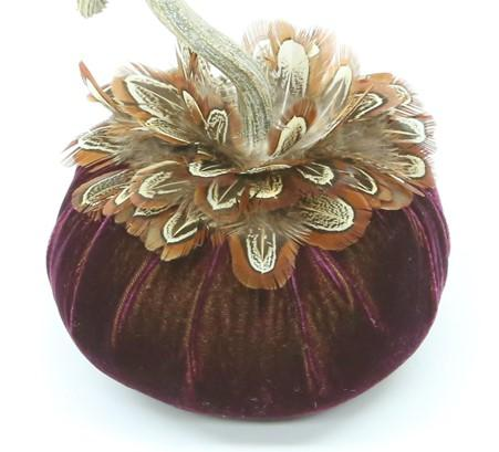"5"" ~ Pheasant Feather Mini Collar ~ Velvet Pumpkins - PoppyandPeaches.com - Hot Skwash"