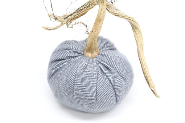 Cashmere Pumpkin in Steel Herringbone, 3 inch