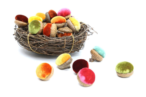 Adorable Silk Velvet Acorns (Sold in sets of 6, Various Designer Colors) - PoppyandPeaches.com - Hot Skwash