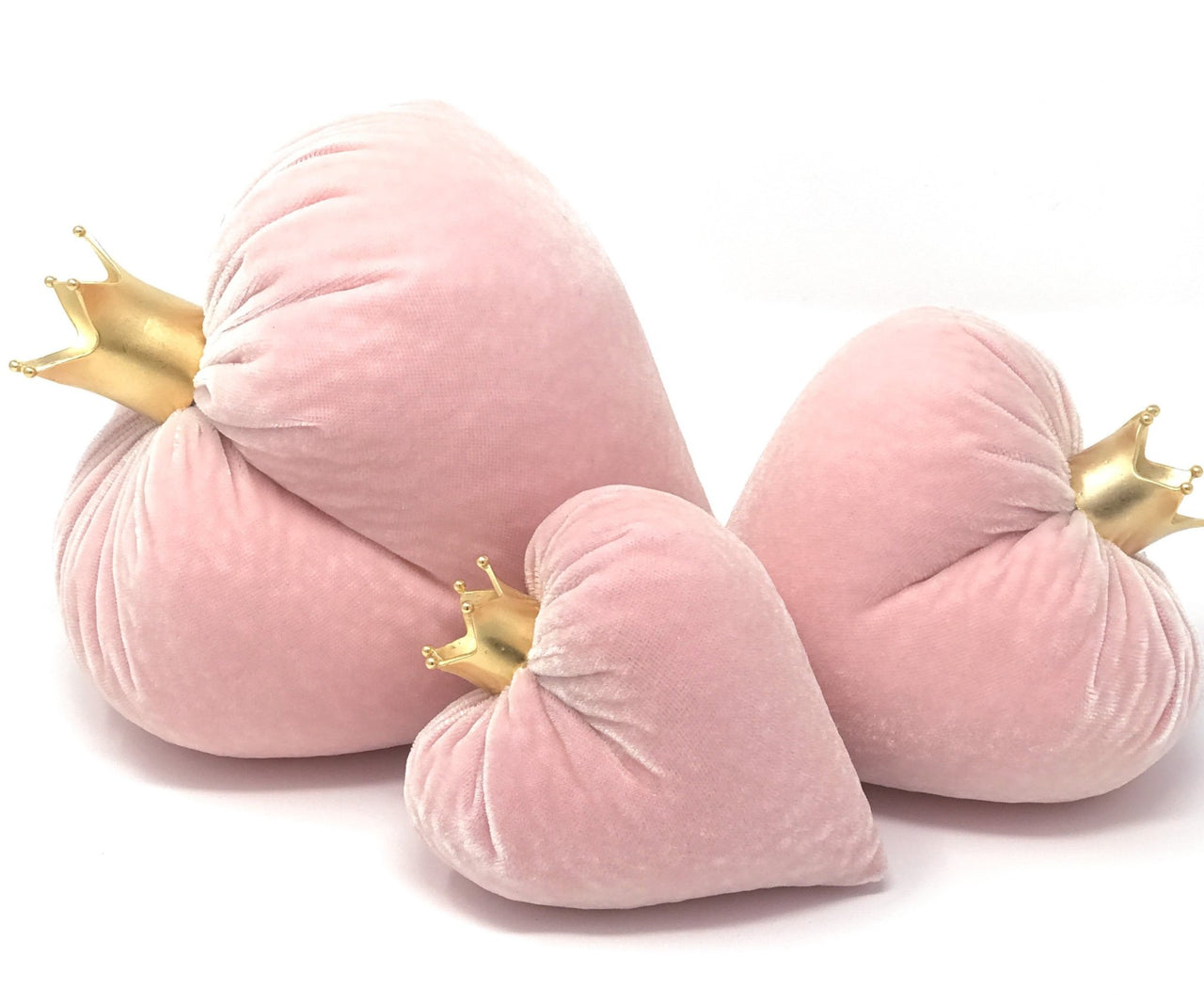 Blush Silk Velvet Hearts with 14k Gold Plate Crowns - Set of 3 - PoppyandPeaches.com - Hot Skwash