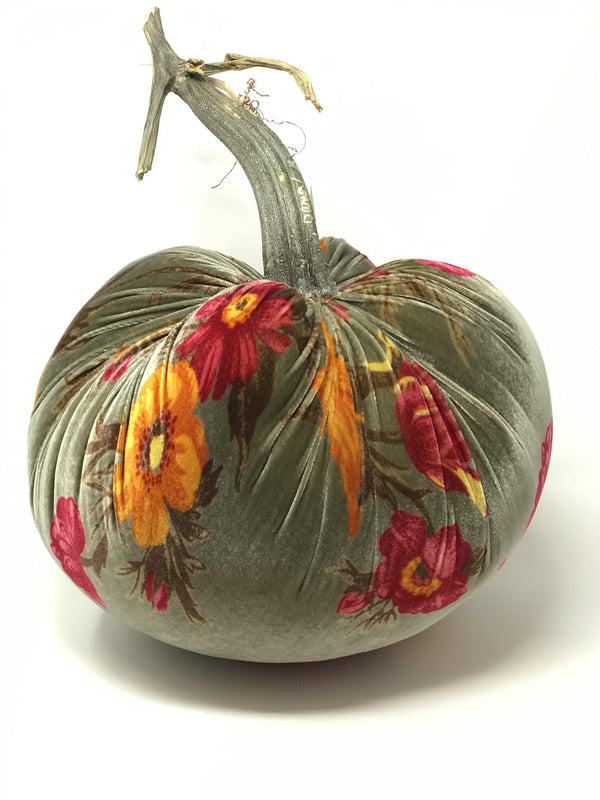 Floral Silk Velvet Designer Pumpkin by Hot Skwash - PoppyandPeaches.com - Hot Skwash