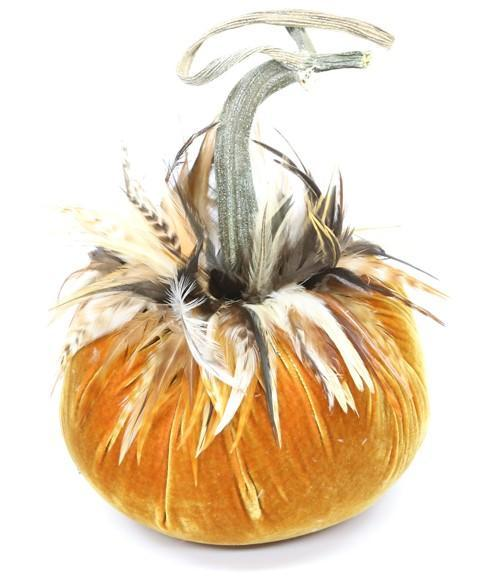"JJ {10"" Jumbo} ~ Ginger Saddle Feather Collar ~ Velvet Pumpkins - PoppyandPeaches.com - Hot Skwash"