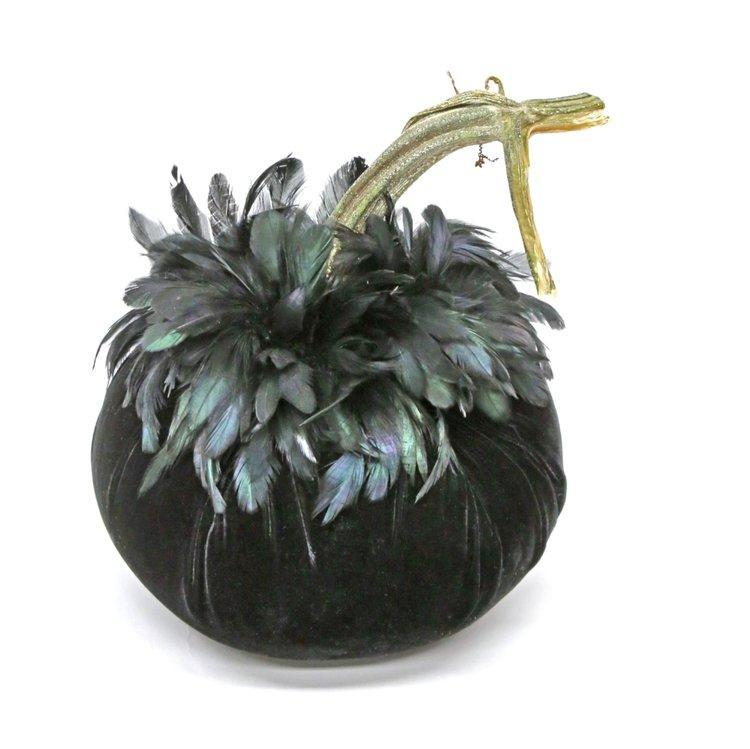 "Jumbo {11""} ~ Black Schlappen Feather Collar ~ Velvet Pumpkins - PoppyandPeaches.com - Hot Skwash"