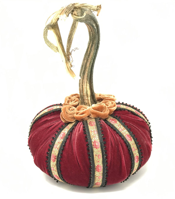 Limited Edition Birdcage Silk Velvet Pumpkin in Berry with Vintage Ribbon - PoppyandPeaches.com - Hot Skwash