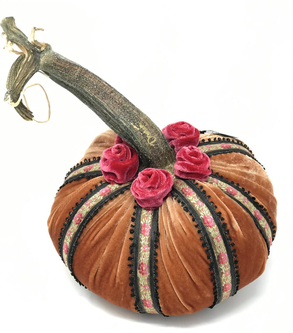 Limited Edition Birdcage Silk Velvet Pumpkin in Spice with Vintage Ribbon - PoppyandPeaches.com - Hot Skwash