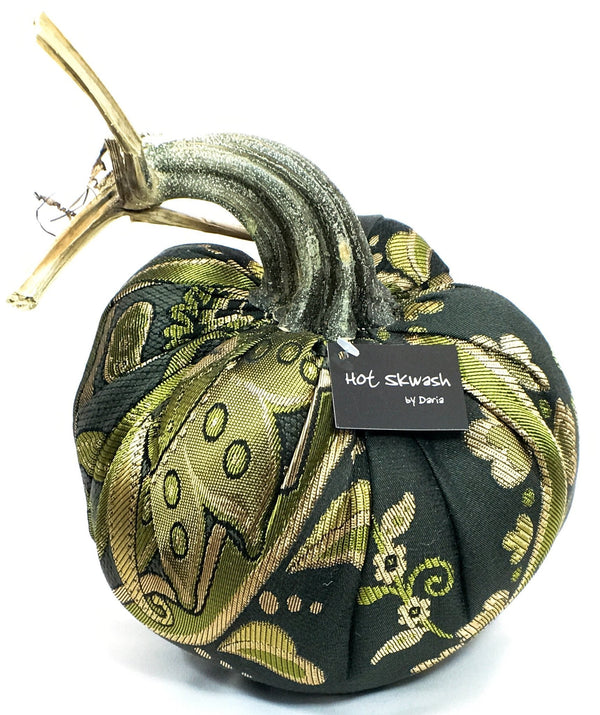 Limited Edition Olive and Gold Brocade Pumpkin - PoppyandPeaches.com - Hot Skwash