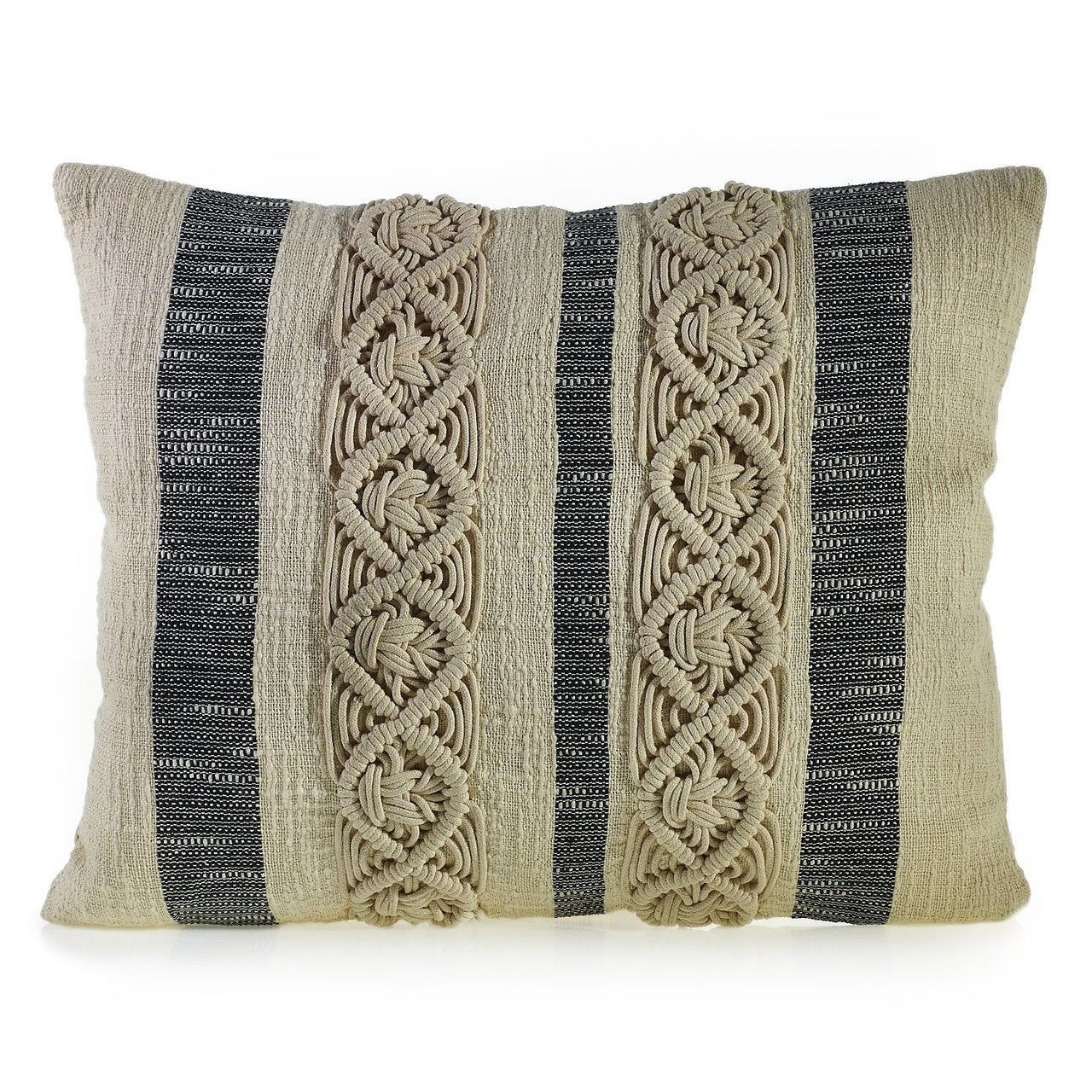 Mahalo Pillow with Crochet - PoppyandPeaches.com - Accent Decor