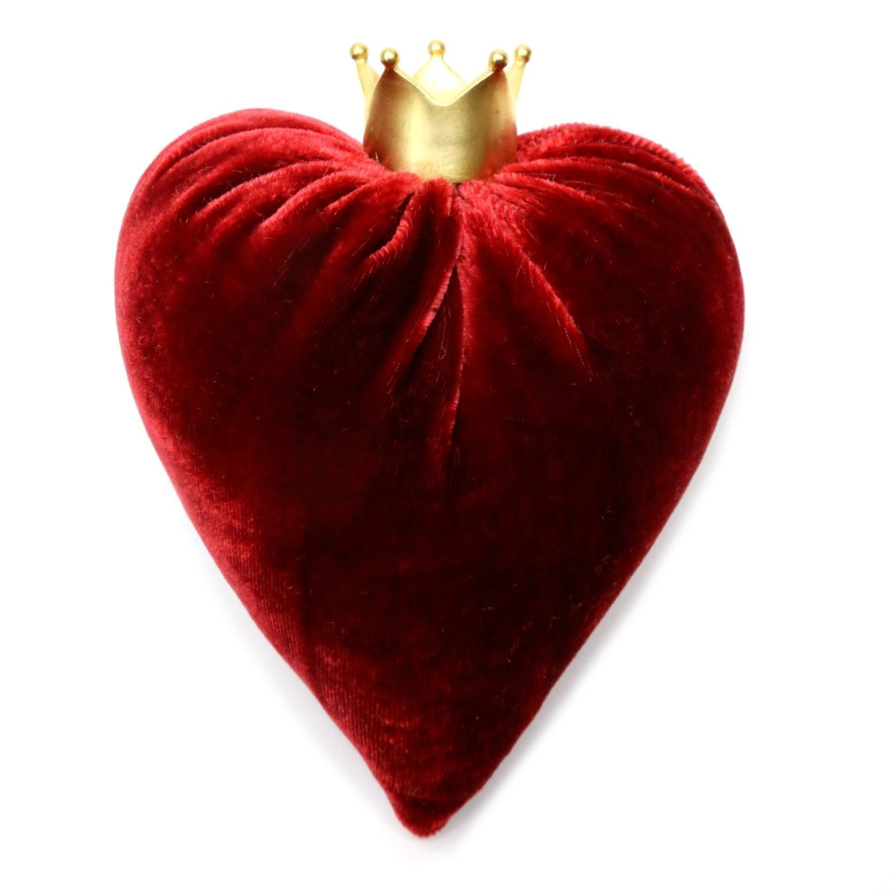 Small Luxurious Silk Velvet Heart with 14k Gold Plate Crown - PoppyandPeaches.com - Hot Skwash