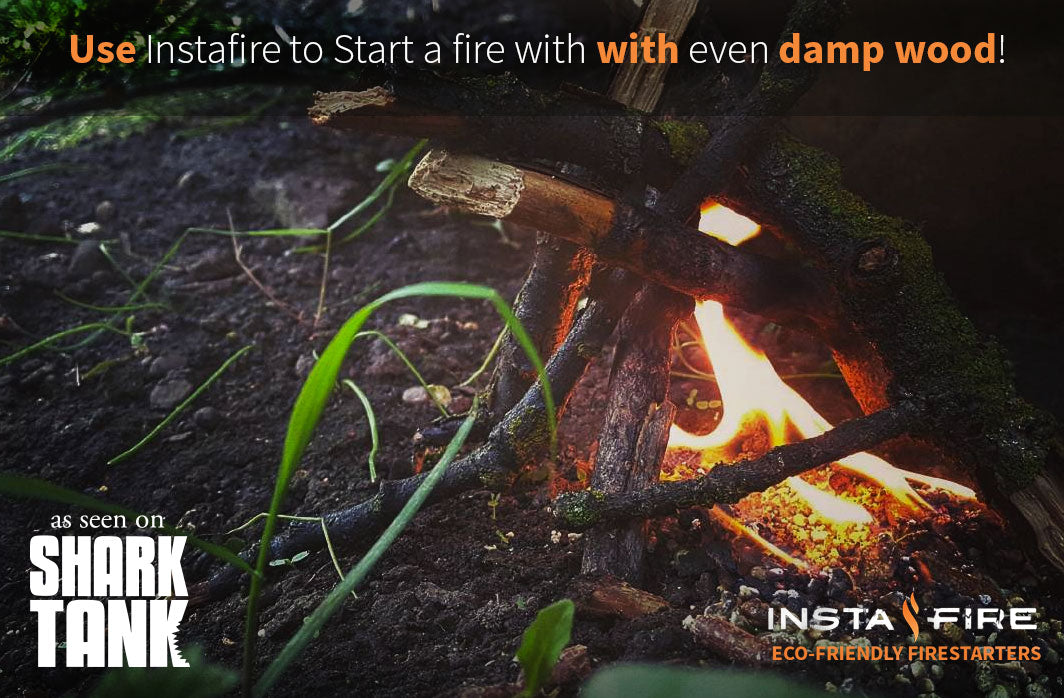 Lighting wet wood with Instafire Fire Starters