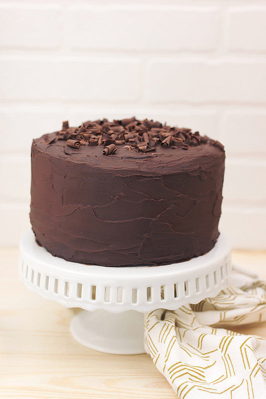 Chocolate Cake with Dark Chocolate Ganache Frosting {gluten-free, dairy-free, sugar-free}