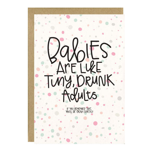 """Tiny Drunk Adults"" Greeting Card - Crunch Natural Parenting is where to buy"