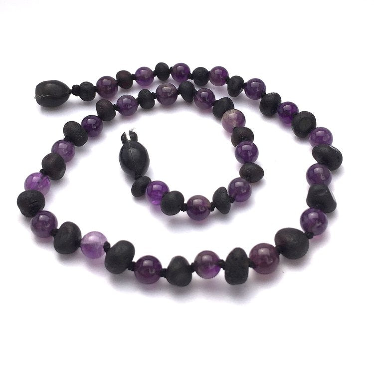 Amber Necklace - Baroque Cherry & Amethyst - Crunch Natural Parenting is where to buy