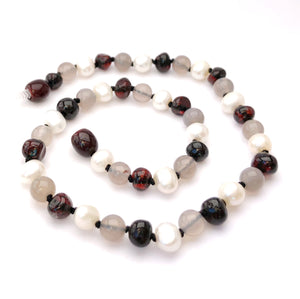 Dark Amber, Gemstone, and Pearl Necklace - Crunch Natural Parenting is where to buy