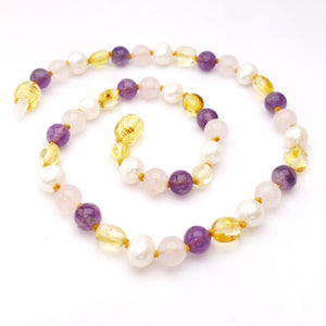 Light Amber, Gemstone, and Pearl Necklace - Crunch Natural Parenting is where to buy