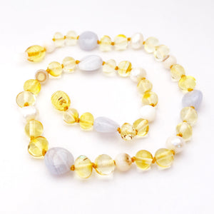 Amber, Pearl and Blue Chalcedony Necklace